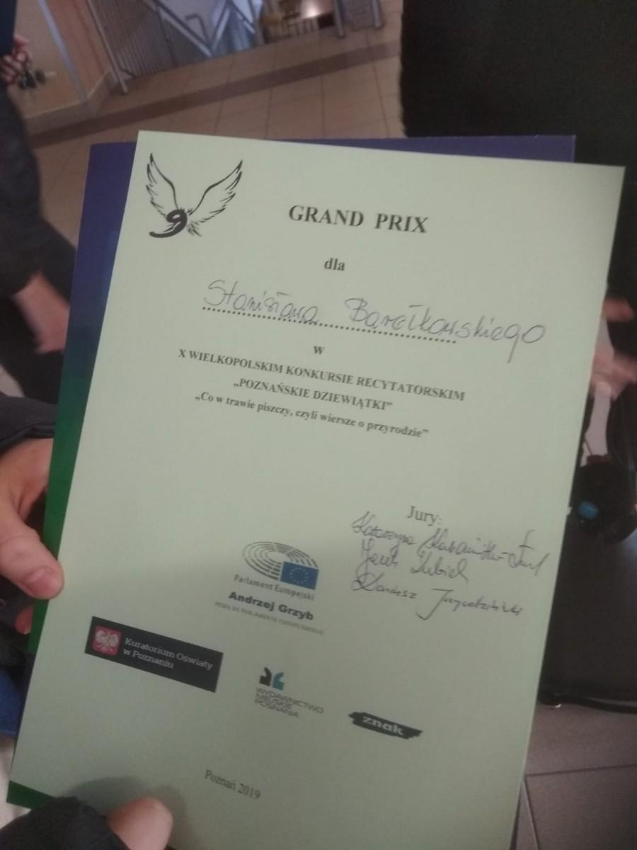 Grand Prix W Konkursie Recytatorskim Poznańskie Dziewiątki